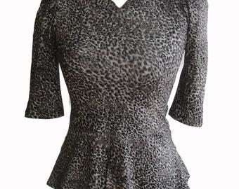 Peplum shirt with leopard print