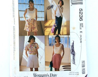 McCall's 5236, Women's Skirt, Pants and Shorts Pattern, Easy McCall's, Size 14, 16, 18, Uncut Vintage Pattern