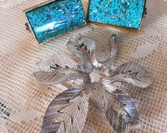 TOTALLY 1950's Clip-On Resin Earrings and Silvertone Trifari Brooch, Lucite, Signed
