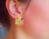 Coloured playful pencil crayon plugable, stud earrings for artist, tea...