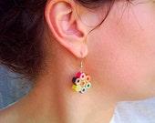 Coloured playful pencil crayon earrings for artist, teacher, art teach...