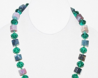 Natural Gemstone Necklace with Glass Beads - Multi Color - S2356