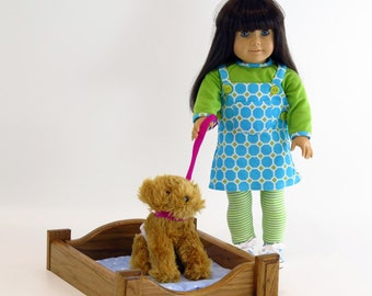 American Girl Doll Furniture / Pet Bed for American Girl / American Girl Pet Bed (Oak)