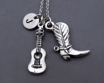 Cowboy Boot necklace, Cowgirl Boot necklace, Cowboy boot guitar necklace, Guitar necklace, Western theme, best friend necklace, personzlied