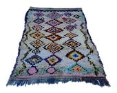 """89""""X58"""" inch Large vintage Moroccan rug woven by hand from scraps of fabric / boucherouite / boucherouette"""