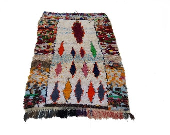 """80""""X45"""" Vintage Moroccan rug woven by hand from scraps of fabric / boucherouite / boucherouette"""