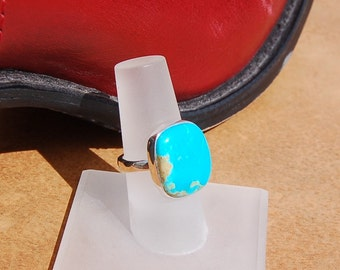 Turquoise Silver Ring Size 6