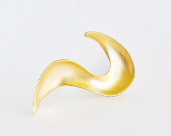 Golden Satin Ribbon Brooch Pin