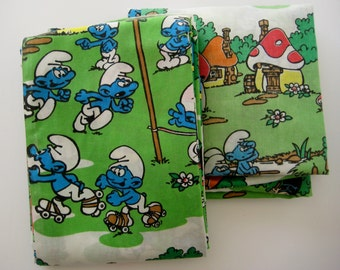 Vintage Smurfs Smurfette Flat TWIN Size Bedding Set Flat Sheet & Fitted Sheet Kids Bedding Smurf Bed Sheets 2 Piece Craft Fabric Clean Used