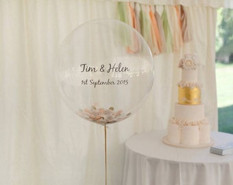 Personalised Wedding Day Confetti Bubble Balloon ~ Various Colours ~ Balloon in a Box