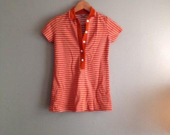 70s Penneys sz XS Deep V Polo - Orange Striped
