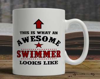 Awesome swimmer mug, swimmer gift for swimmer, swimming mug for swimmer, swimmer coffee mug swimming gift, swimmer tea mug, swim mug  E1057
