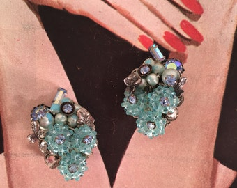 Vintage Aurora Borealis Earrings -- Glowing Goodness!