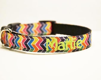 Personalized - Multi Color Chevron Dog Collar - Made to order