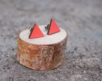 Coral Wood Geometric Earrings // Triangle Earrings // Pink Earrings // Coral Earrings // Studs // Bright and Simple Earrings