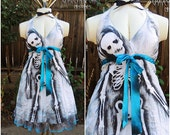 PLUS SIZE Zombie Pin Up Dress // Zombie Housewife // Zombie Costume // Skeleton dress // Halloween Costume // Size 3X
