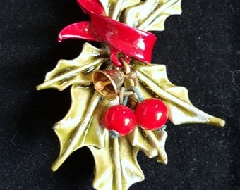 Vintage ART Christmas Holly Berry Branch with Bell Brooch