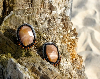 Drenched in Sunshine- Chunky Sun Stone Faceted Earrings