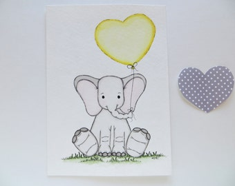 nursery decor, watercolor painting, original painting, baby elephant, childrens wall decor, grey and yellow