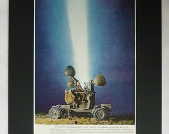 1940s Antique Print of a London Searchlight, Available Framed, Blitz Art, Women's History, Air Raid Decor, Auxiliary Territorial Service