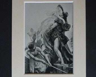 1913 Antique R von Deutsch Print of the Rape of Helen of Troy, Available Framed, Myth Art, Ancient Greek Mythology Gift Spartan Decor Sparta