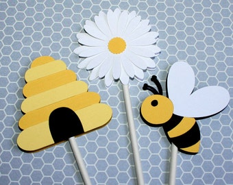 Bee Cupcake Toppers - Mommy To Bee / Bride To Bee