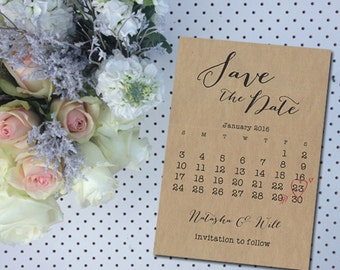 Wedding, Save The Date, DIY Printable Invitation, Engagement, Print at Home, Invite, Calendar, Rustic, Fun, Unique, Stationary