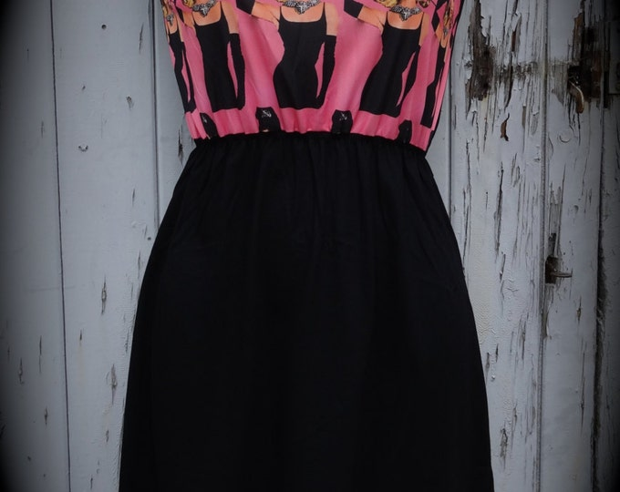 Brand New Audrey Hepburn & Cat Pink Dress - Size 10 12 14 - Digital Print Skater Pin Up Girl 1950s