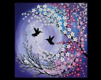 "cherry blossom painting, cherry blossom art, purple abstract art, purple art, Japanese painting , wall paintings , gift, 24"" x 24"""
