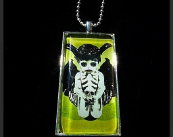 "Creepy Silver Devil Pendant with 23"" Ball Chain"