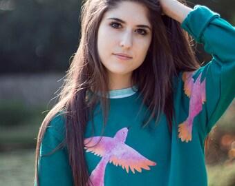 Hand Painted Emerald Birds Sweater