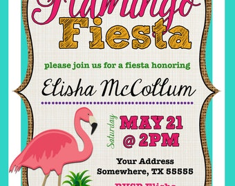 Flamingo Fiesta Party Invitation - Digital File Only