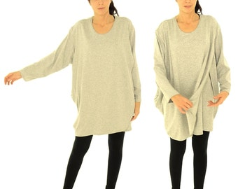HP400HGR plus size tunic top layered look asymmetrical Jersey Gr. 38-54 grey