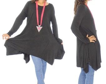 HU500SW tunic layered look asymmetrical Gr. 38-44 black