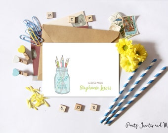 Personalized Notecard, Personalized Stationery, Personalized Stationary, Notecards, Teacher, Artist, Pencil holder