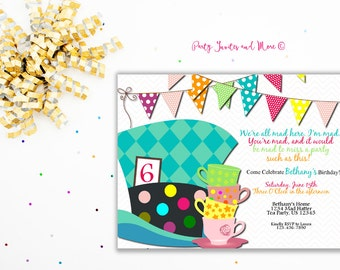 mad hatter Birthday Invitation, Birthday Invitation, Bright Birthday Invitation, Tea Party Birthday Invitation, Tea Party, Hats