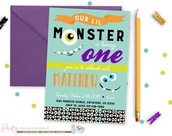 Monster Birthday Invitation, Monster Bash Birthday Invitation, First Birthday Invitation, Our Little Monster Invitation, Monster Invitation