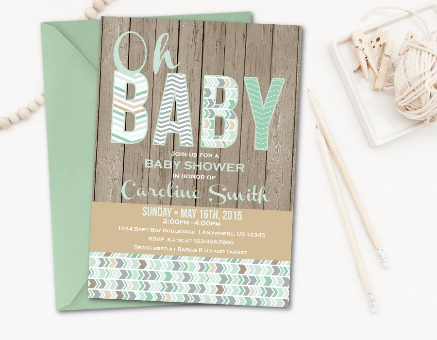 rustic baby shower invitation mint baby shower inivtation