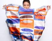 SALE: Printed scarf, Silk Twill scarf, Square scarf, Colorful scarf, Designer scarf, Orange, Grey, Blue, Original design by Dikla Levsky