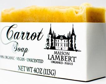 ORGANIC carrot soap - Organic Soap - handmade soap - vegan soap - argan oil soap - unscented soap - aloe vera soap - exfoliating soap