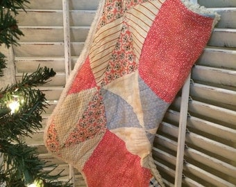 Quilted Christmas Stocking from Vintage Cutter Quilt #7