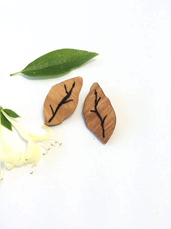 Reclaimed Birch Leaf Earrings from Feath & Kee