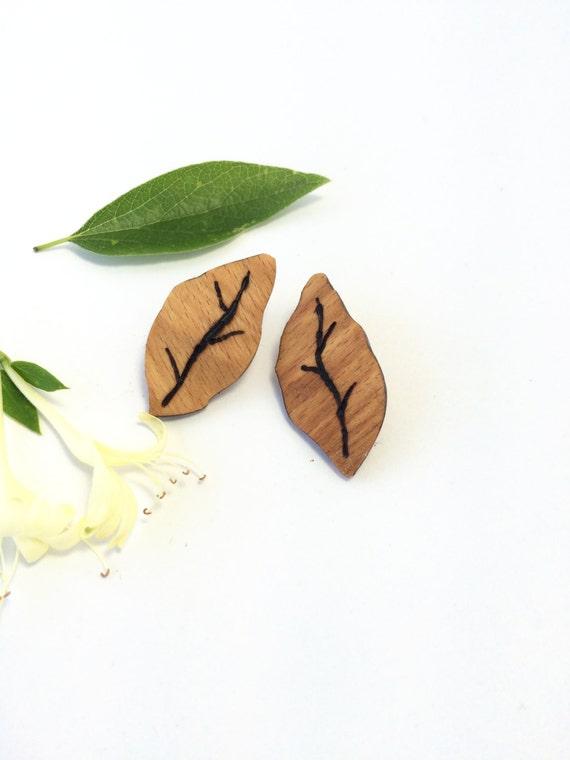 Reclaimed Birch Leaf Earrings from Feath & Kee