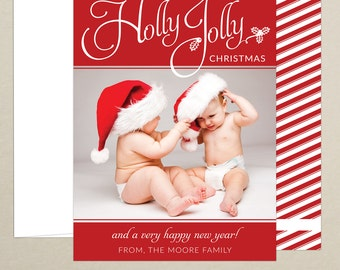 FREE SHIPPING!  Holly Jolly Christmas Family Photo Card - Holiday Card - Christmas Card - Personalized Photo Card - Digital / Printed