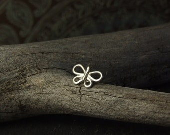 Sterling Silver Butterfly Nose Stud // Choose wire gauge 22g 20g 18g //