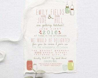 Wedding Invitation Suite DEPOSIT - DIY, Rustic, Kraft Paper, Jars, Vintage, Shabby Chic, Printable, Barn, Invite Kit (Wedding Design #16)