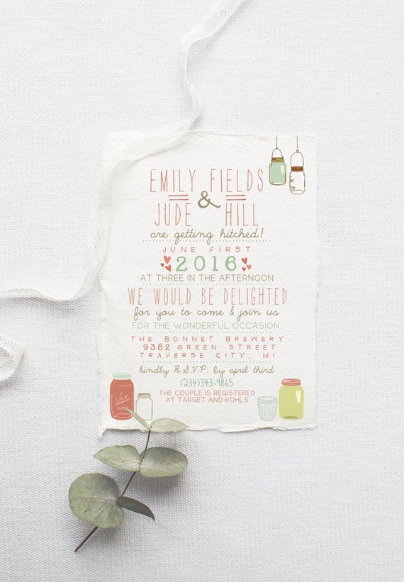 Wedding Invitation Suite DEPOSIT - DIY, Rustic, Kraft Paper, Jars, Vintage, Shabby Chic, Printable, Barn, Invite Kit (Wedding Design #16)