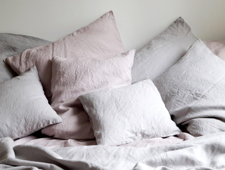Linen Bedding Queen Size Light Grey And Dusty Pink Linen