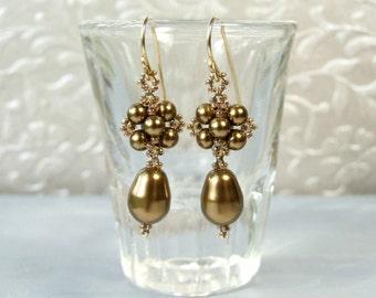 Antique Brass Earrings Pearl Drop Earrings, Vintage Style Earrings Victorian Beadwork Jewelry, Gold Filled, Elegant Jewelry, Handmade Gifts