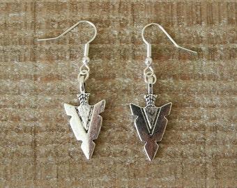 Silver Arrow Head Earrings, Arrow Dangle Earrings, Drop Earrings, For Pierced Ears, Silver Arrow Charm Earrings